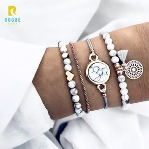 Jewelry - 🆕Real Stone 4 Piece Gold Marbled Bracelet Set